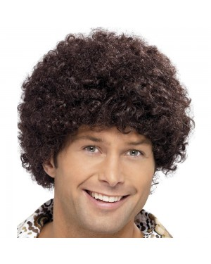 Brown Afro Wig at Fancy Dress and Party