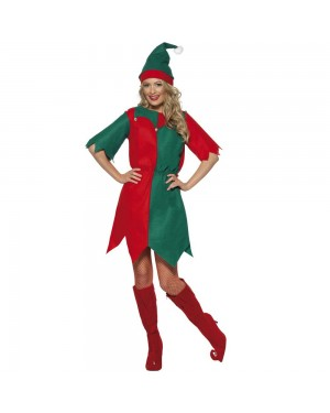 Christmas Elf Costume Front at Fancy Dress and Party