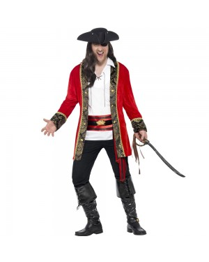 Curves Pirate Captain Costume Front View at Fancy Dress and Party