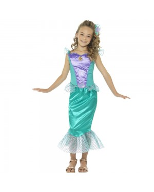 Deluxe Childs Mermaid Costume Front View at Fancy Dress and Party