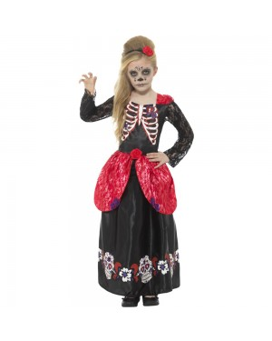 Deluxe Girls Day of the Dead Costume at Fancy Dress and Party