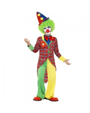 Deluxe Kids Clown Costume Front View at Fancy Dress and Party