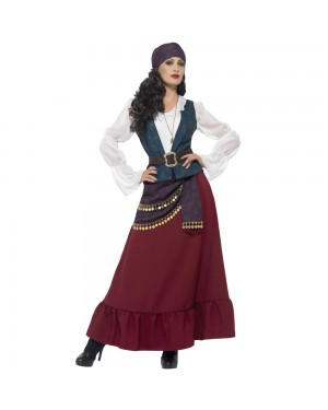 Deluxe Pirate Buccaneer Beauty Costume Front View at Fancy Dress and Party
