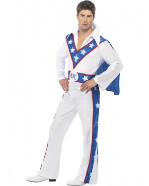 Evel Knieval Stunt Man Costume Front View at Fancy Dress and Party