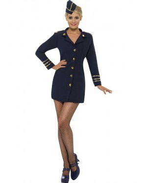 Female Pilot Costume Front View at Fancy Dress and Party
