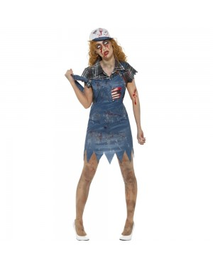 Female Zombie Hillbilly Costume Front View at Fancy Dress and Party