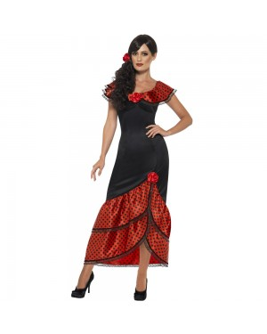 Flamenco Senorita Costume Front View at Fancy Dress and Party