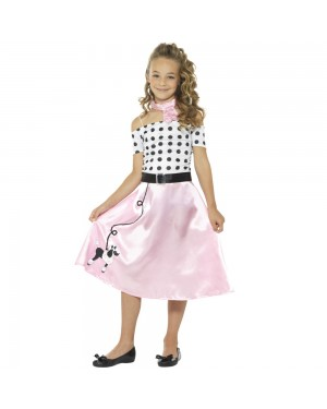Girls 50s Costume Front View at Fancy Dress and Party