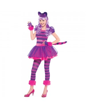 Girls and Teens Pink Cheshire Cat Costume at Fancy Dress and Party