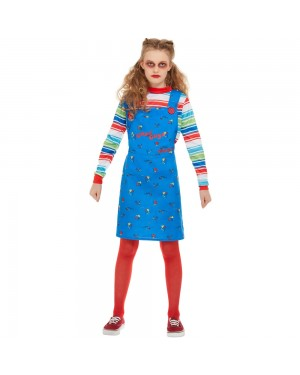 Girls Chucky Halloween Costume Front View at Fancy Dress and Party