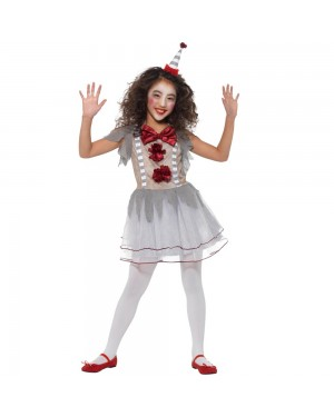 Girls Clown Costume Front View at Fancy Dress and Party