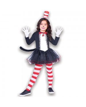 Girls Dr Seuss Cat in the Hat Dress at Fancy Dress and Party