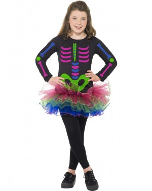 Girls Skeleton Costume at Fancy Dress and Party