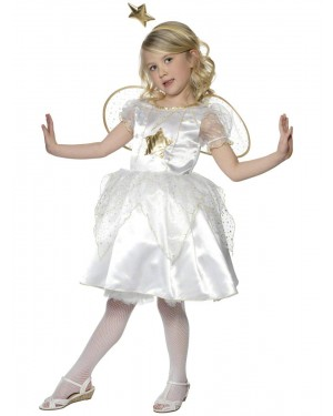 Girls Star Fairy Costume and Wings Front at Fancy Dress and Party