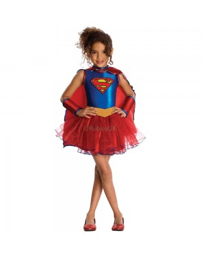 Girls Supergirl Costume at Fancy Dress and Party