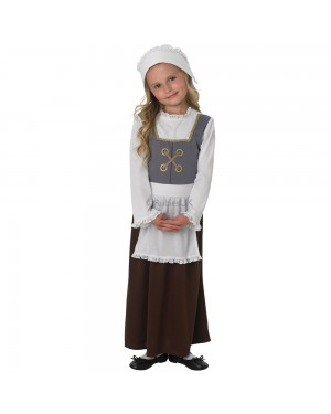 Girls Tudor Peasant Costume Front View at Fancy Dress and Party