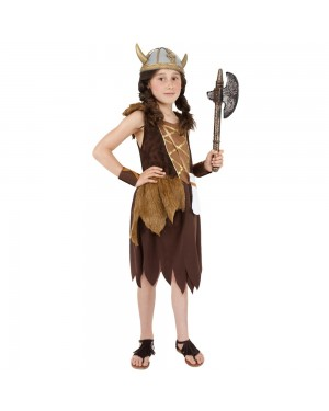 Girls Viking Costume Front at Fancy Dress and Party