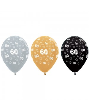 Gold Black and Silver 60th Birthday Balloons at Fancy Dress and Party