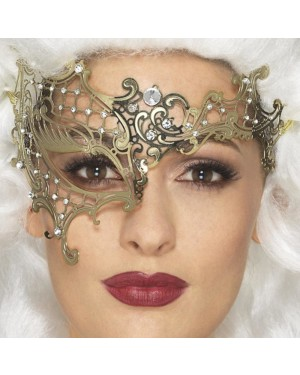 Gold Filigree Masquerade Mask at Fancy Dress and Party