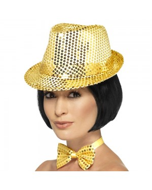Gold Sequin Trilby Hat at Fancy Dress and Party