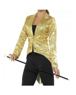 Gold Womens Tailcoat Front View at Fancy Dress and Party