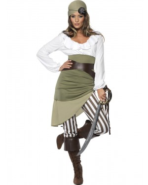 Green Pirate Costume Front View at Fancy Dress and Party