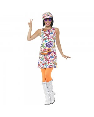 Groovy Chick 1960s Dress Front View at Fancy Dress and Party