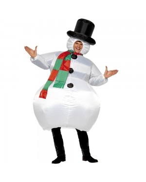 Inflatable Snowman Costume Front View at Fancy Dress and Party