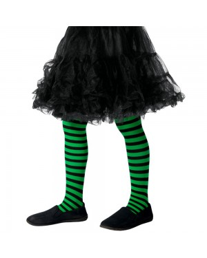Kids Green and Black Striped Tights at Fancy Dress and Party