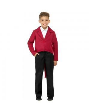 Kids Red Tailcoat Front View at Fancy Dress and Party