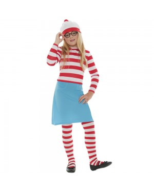 Kids Where's Wally Wenda Costume Front at Fancy Dress and Party
