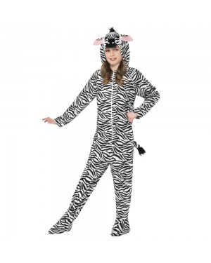 Kids Zebra Onesie Costume Front View at Fancy Dress and Party