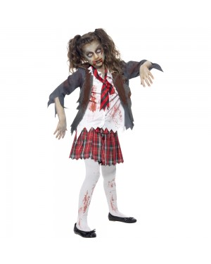 Kids Zombie School Girl Front View at Fancy Dress and Party