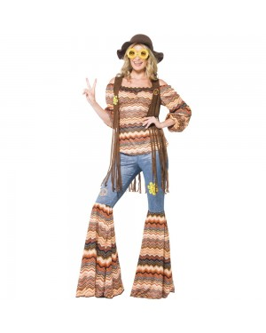Ladies Hippie Costume Front View at Fancy Dress and Party