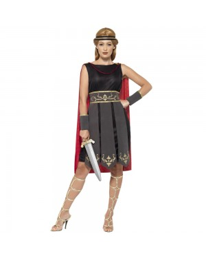 Ladies Roman Warrior Costume Front View at Fancy Dress and Party