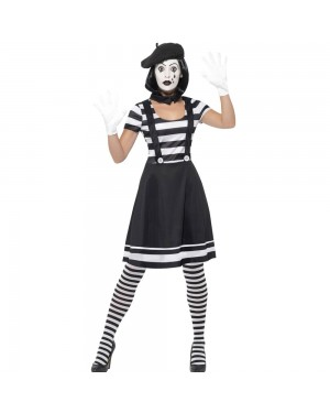 Lady Mime Artist Costume Front View at Fancy Dress and Party
