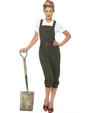 Land Girl 40s Costume Front at Fancy Dress and Party