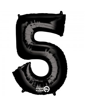 Large Black Number 5 Foil Balloon at Fancy Dress and Party