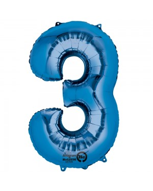 Large Blue Number 3 Foil Balloon at Fancy Dress and Party