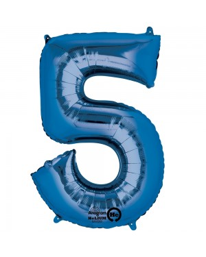 Large Blue Number 5 Foil Balloon at Fancy Dress and Party