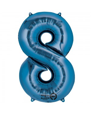 Large Blue Number 8 Foil Balloon at Fancy Dress and Party