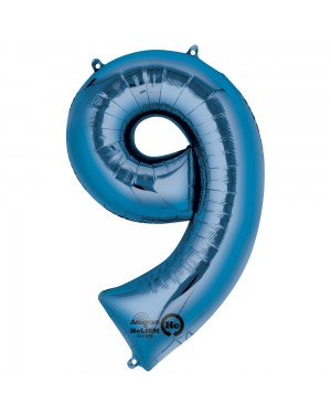 Large Blue Number 9 Foil Balloon at Fancy Dress and Party