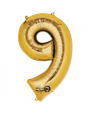 Large Gold Number 9 Foil Balloon at Fancy Dress and Party