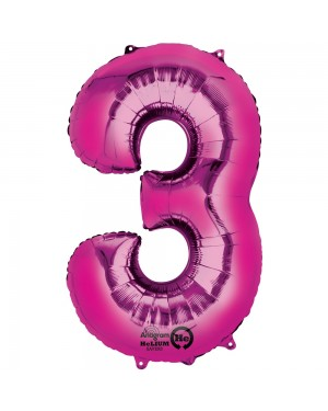 Large Pink Number 3 Foil Balloon at Fancy Dress and Party