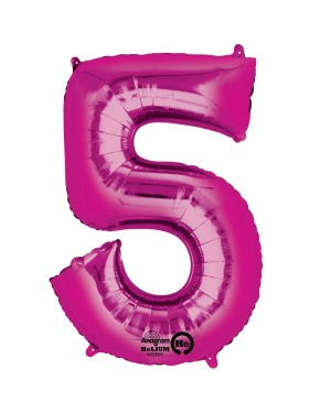 Large Pink Number 5 Foil Balloon at Fancy Dress and Party