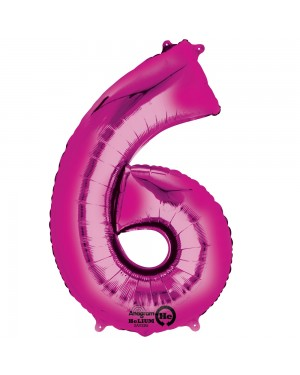 Large Pink Number 6 Foil Balloon at Fancy Dress and Party