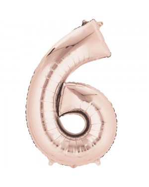 Large Rose Gold Number 6 Foil Balloon at Fancy Dress and Party
