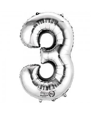 Large Silver Number 3 Foil Balloon at Fancy Dress and Party