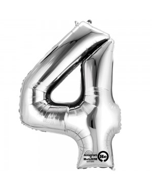Large Silver Number 4 Foil Balloon at Fancy Dress and Party