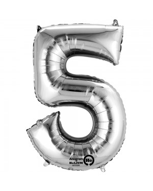 Large Silver Number 5 Foil Balloon at Fancy Dress and Party